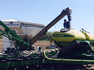 Dennis loading the corn planter in northern Christian County.