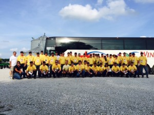 The group of 50 spent a couple hours in Blue Mound before heading to Peoria.