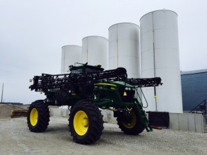 We eagerly await Spring spraying.  Larger tires have been put on the sprayer to limit compaction during pre-plant spraying.