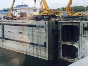 Panama:  The Panama Canal expansion project is in the final stages... estimated completion in May 2016.  This picture shows the new design.