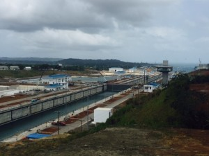 Panama:  The Panama Canal expansion project... looking towards the west.