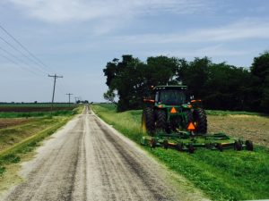 Mowing roadsides in Macon County